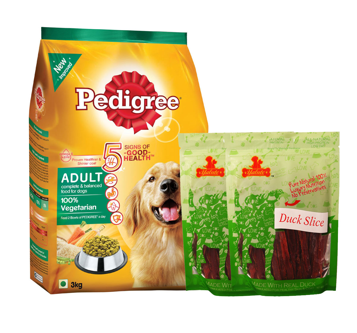 pedigree dog food adult 100 vegetarian 3 kg with duck slices dogspot online pet supply store. Black Bedroom Furniture Sets. Home Design Ideas