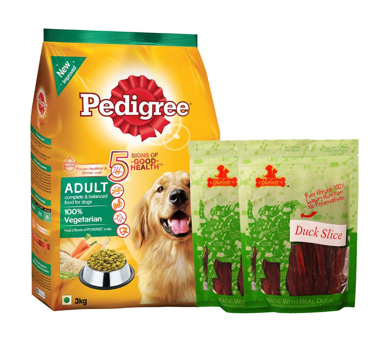 Pedigree Dog Food Adult 100% Vegetarian - 3 Kg  With Duck Slices
