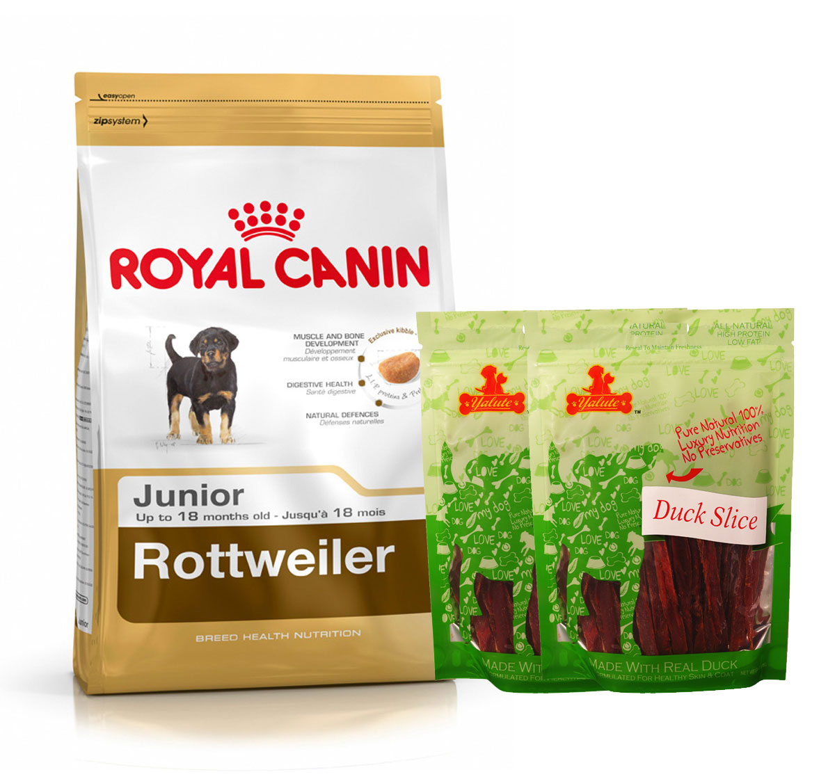 Royal Canin Rottweiler Junior - 3 Kg  With Duck Slices