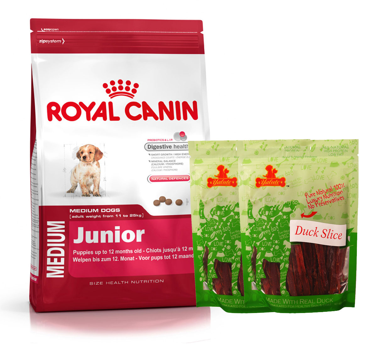 royal canin medium junior 4 kg with duck slices dogspot online pet supply store. Black Bedroom Furniture Sets. Home Design Ideas
