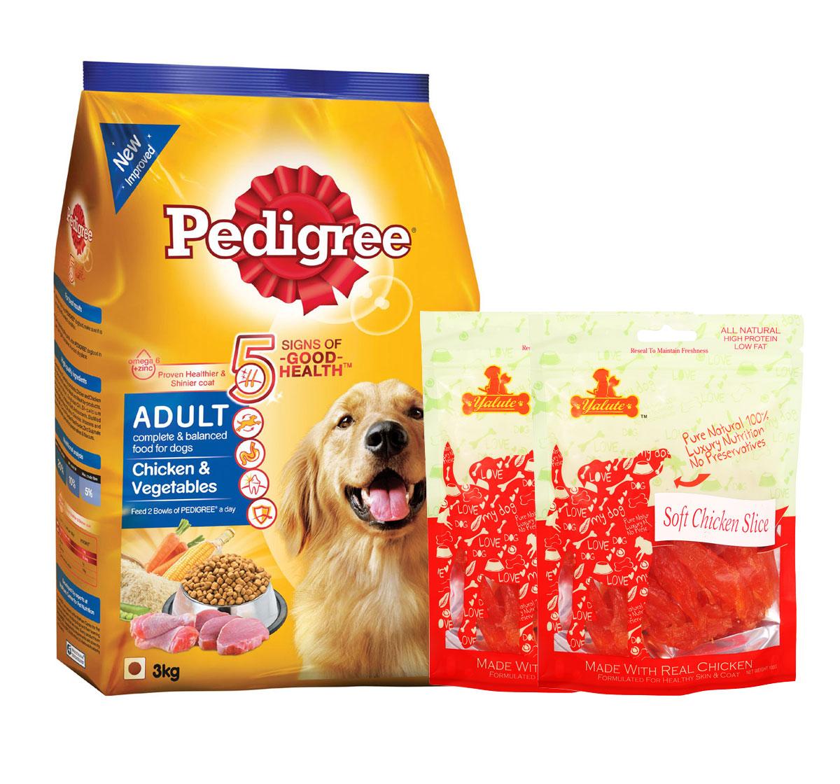 Pedigree Adult Dog Food Chicken & Vegetables - 3 Kg  With Chicken Slices