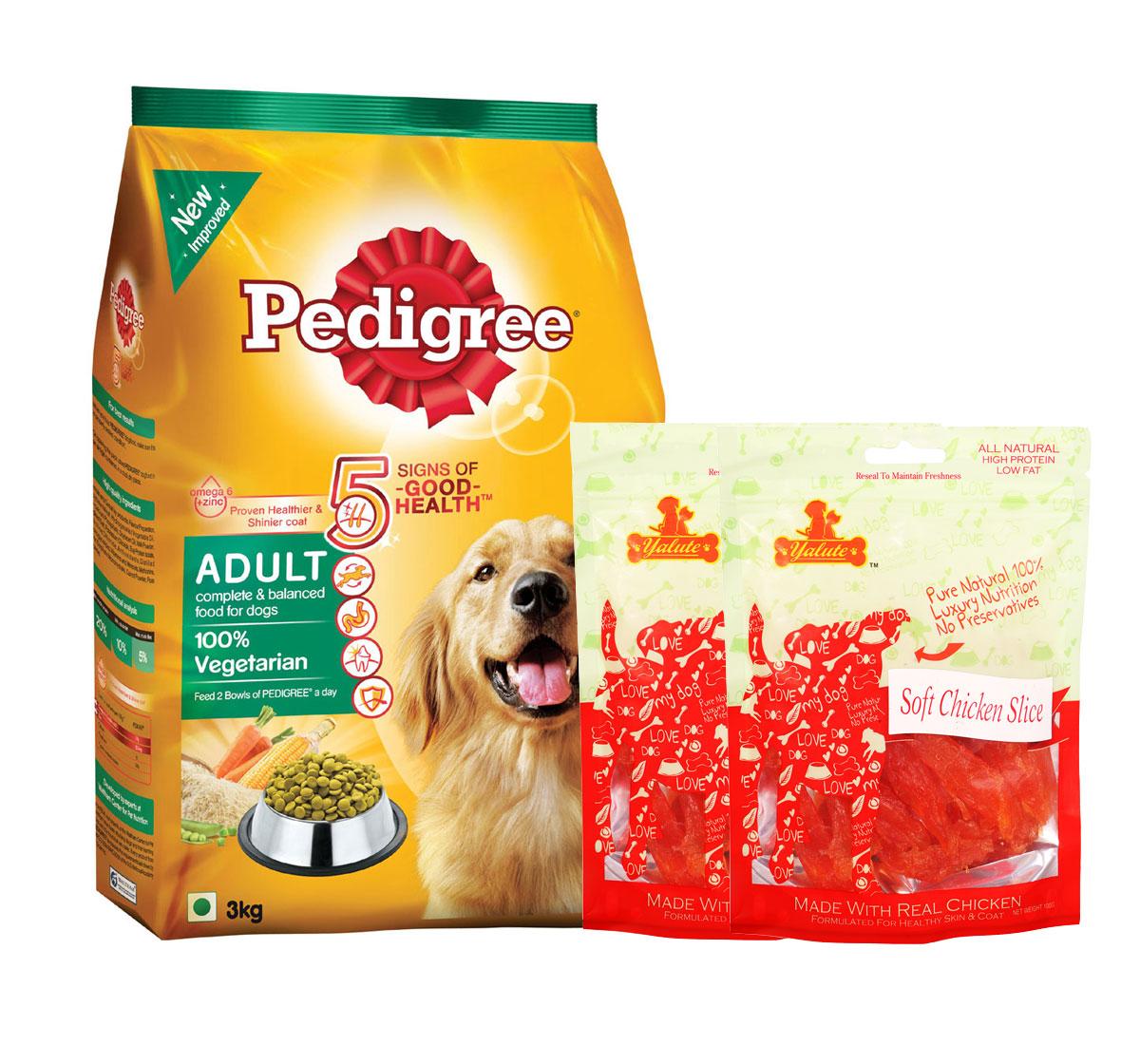 Pedigree Dog Food Adult 100% Vegetarian - 3 Kg  With Chicken Slices