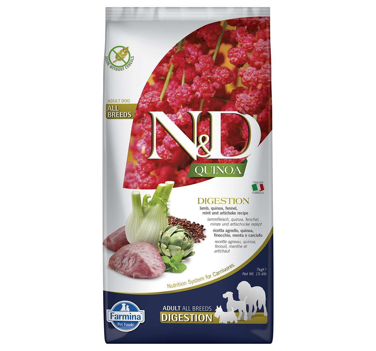 Farmina N&D Dry Dog Food Grain Free Quinoa Digestion Lamb Adult - 7 Kg