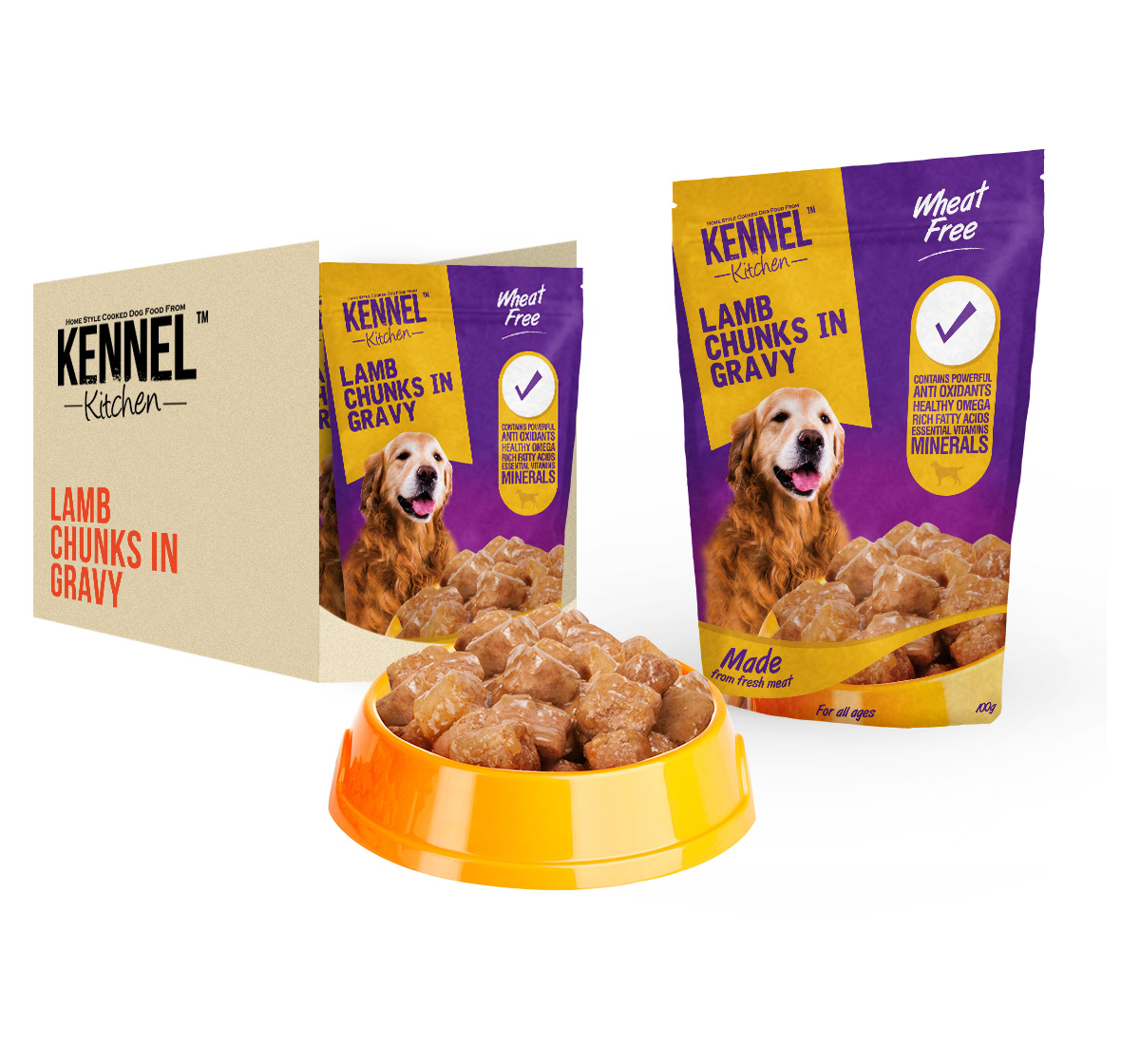 Kennel Kitchen Lamb Chunks In Gravy 100 gm (Pack of 15 )