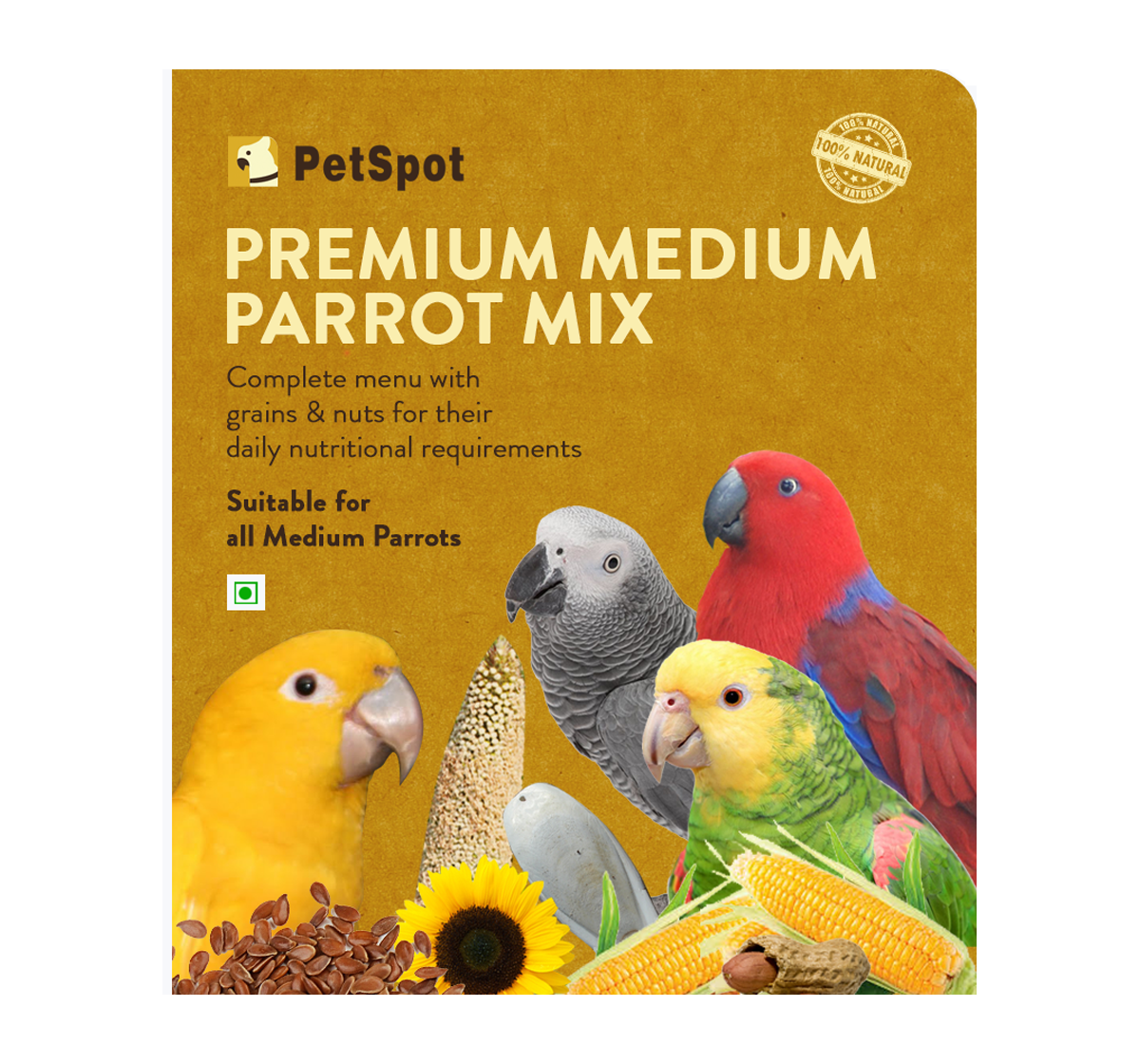 PetSpot Premium Medium Parrot Mix - 800 gm