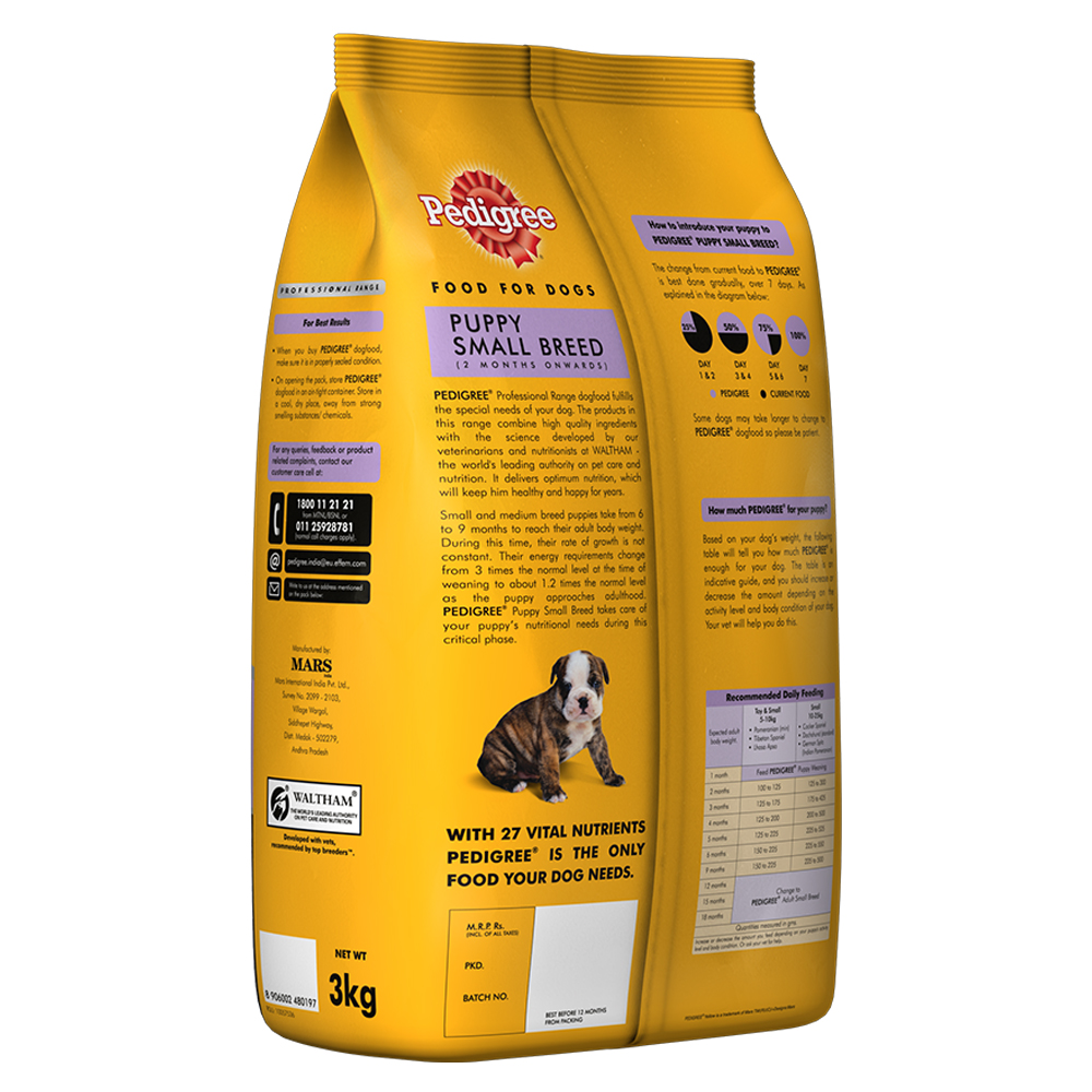Pedigree dog food puppy small breed professional 3 kg for Akc dog food