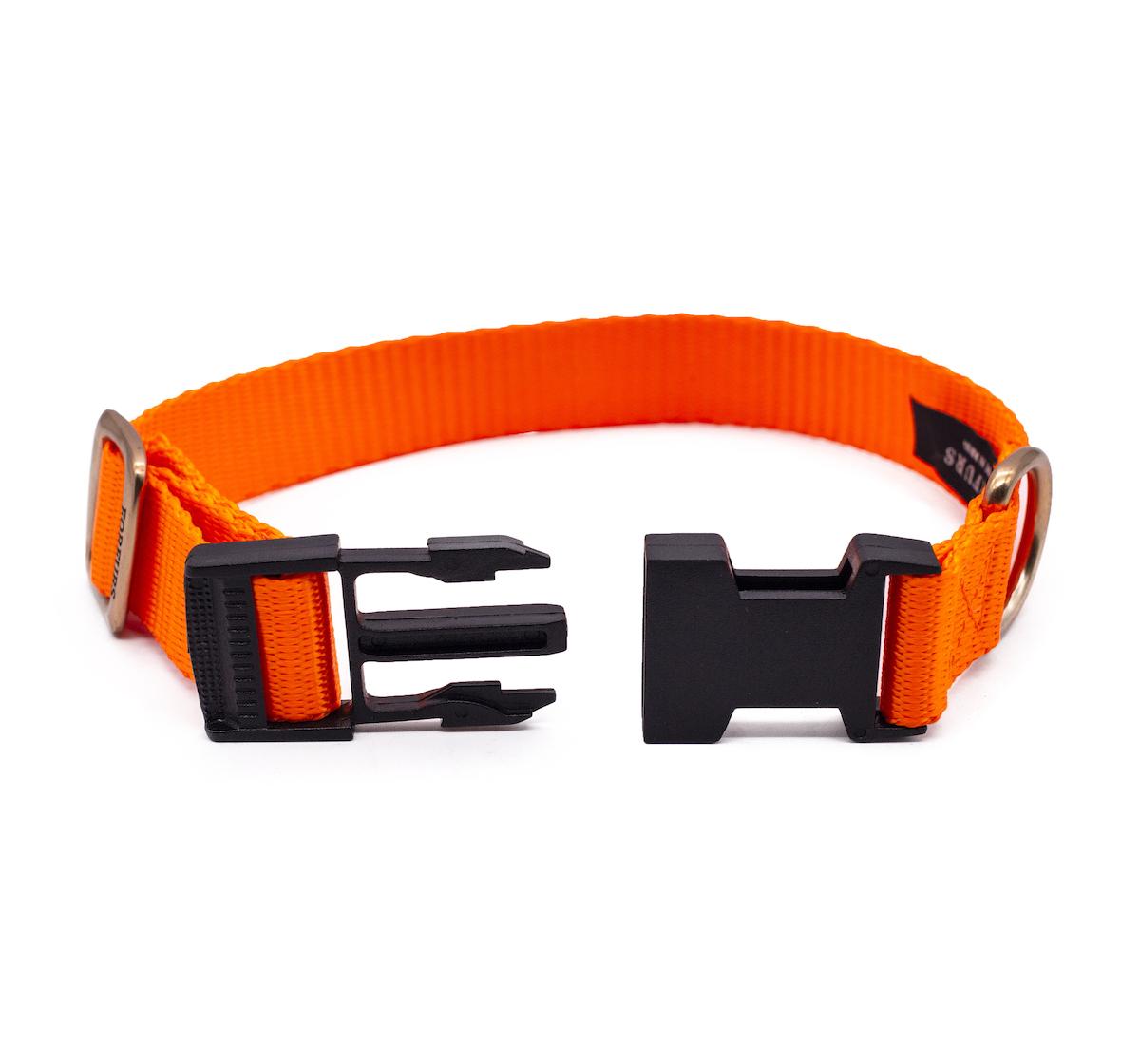 Forfurs Adjustable Classic Dog Collar Neon Orange - Medium