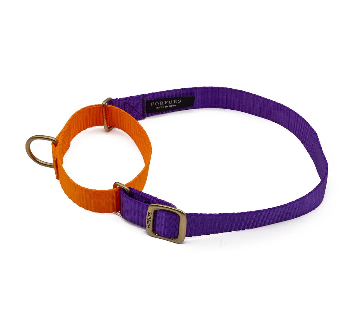 Forfurs Duo Martingale Collar Ultra Violet & Neon Orange - Medium