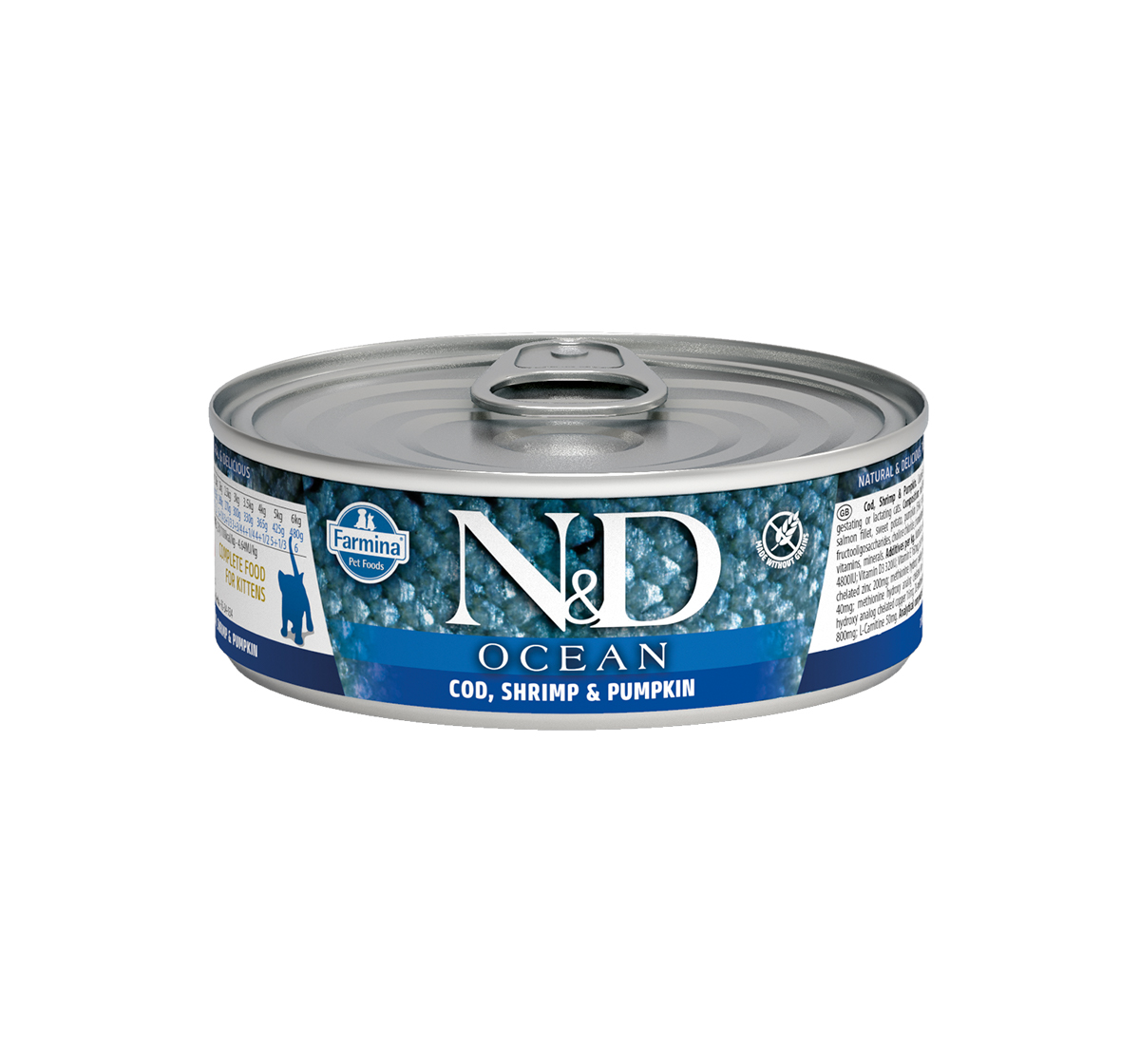 Natural & Delicious Ocean COD Shrimp & Pumpkin Kitten - 80 gm (12 Cans)