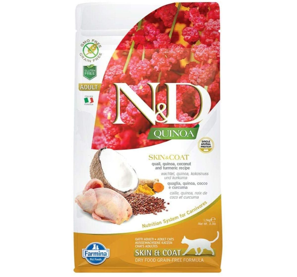 Farmina N&D Dry Cat Food Grain Free Quinoa Skin & Coat Quail Adult - 300 gm (Pack Of 20)