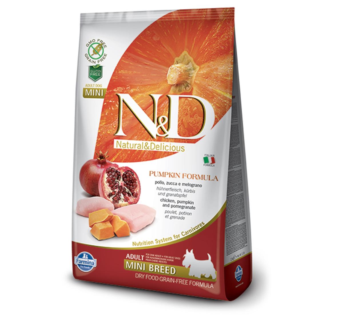Farmina N&D Dry Dog Food Grain Free Pumpkin Chicken & Pomegranate Adult Mini Breed- 7 Kg