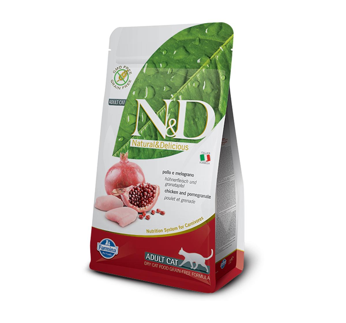 Farmina N&D Dry Cat Food Grain Free Chicken & Pomegranate Adult Cat - 5 Kg (Pack Of 2)