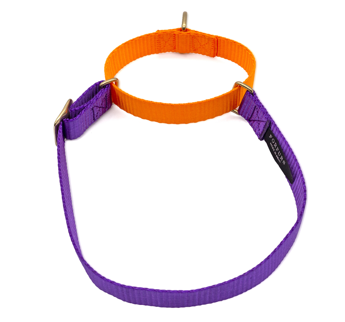 Forfurs Duo Martingale Collar Ultra Violet & Neon Orange - Small