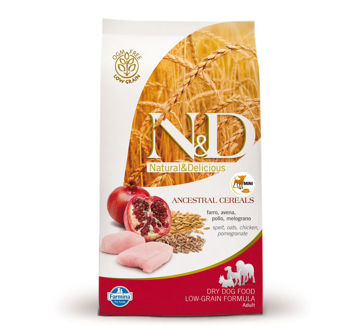 Farmina N&D Dry Dog Food Chicken & Pomegranate Adult Mini Breed - 0.8 kg (Pack Of 10)