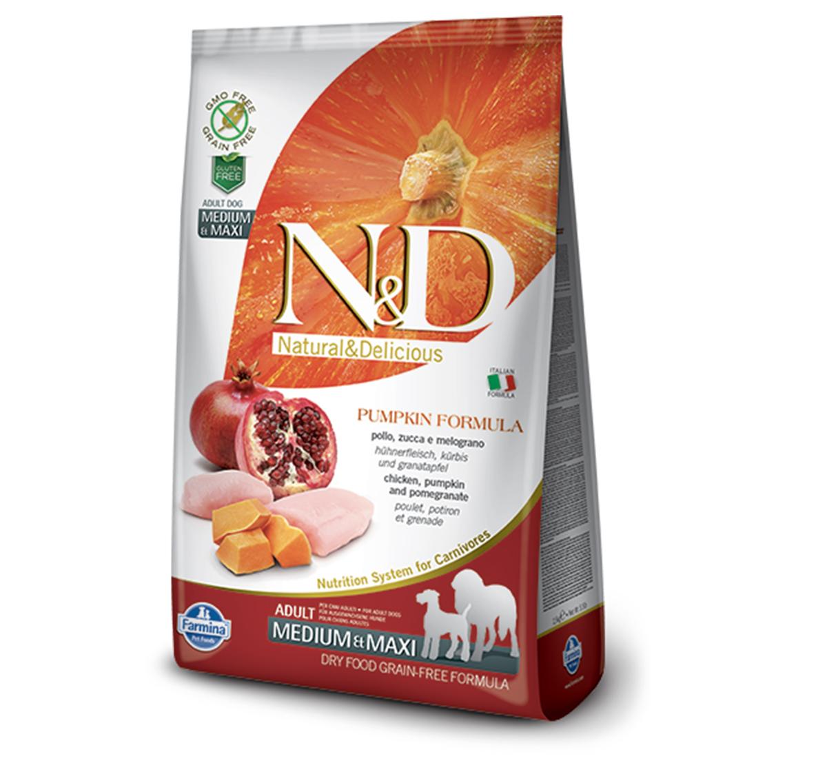 Farmina N&D Dry Dog Food Grain Free Pumpkin Chicken & Pomegranate Adult Medium & Maxi - 12 Kg