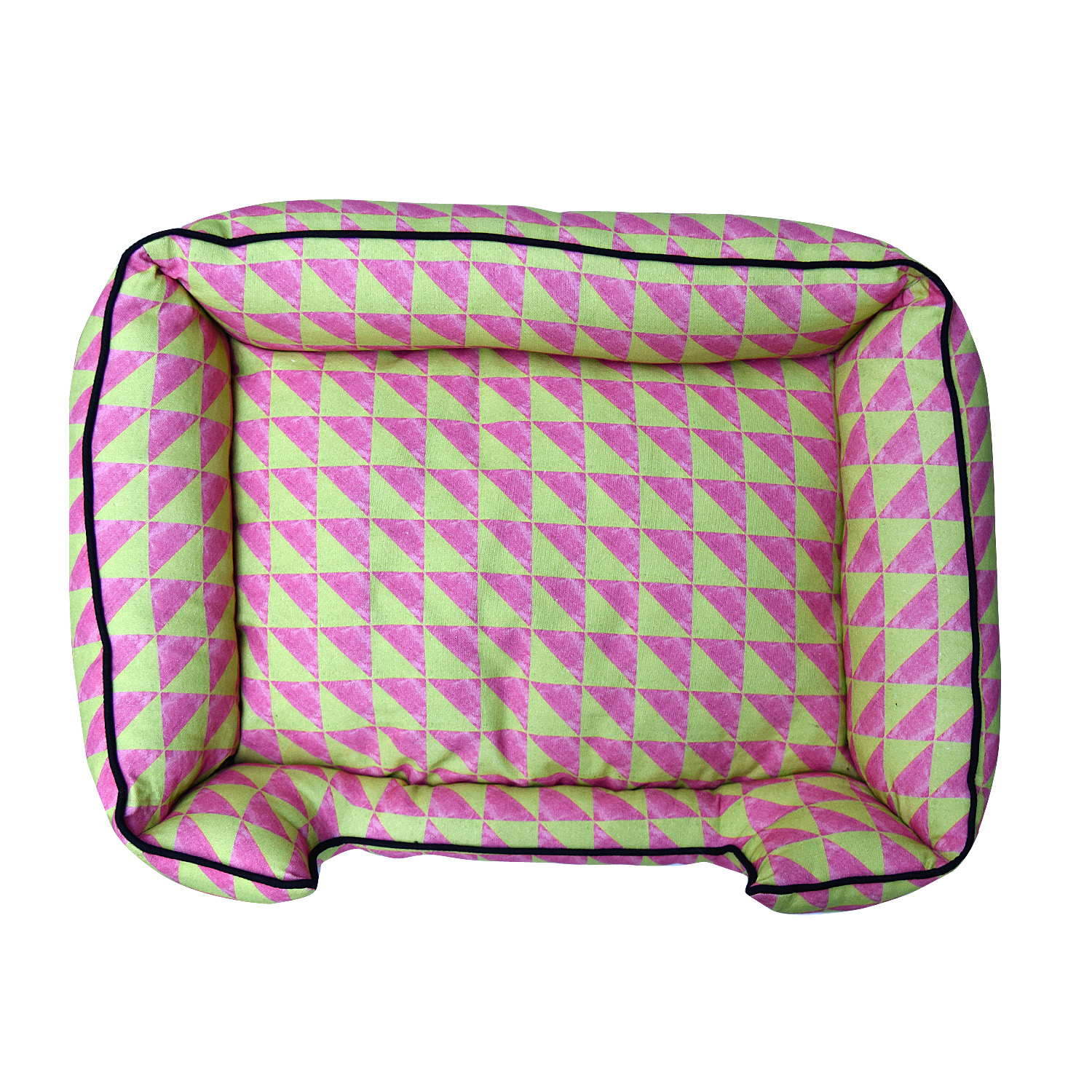 Mutt Of Course Water Color Pink & Green Lounger Bed - Xlarge