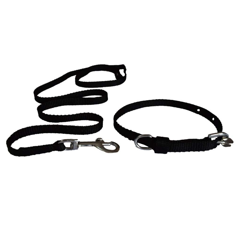 DogSpot Nylon Leash & Collar Set Black- Medium