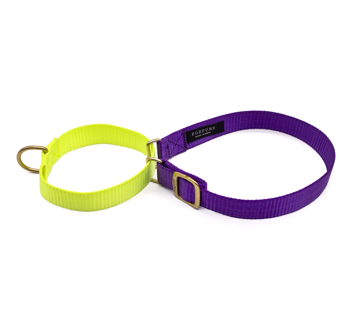 Forfurs Duo Martingale Collar Ultra Violet & Lime Green - Large