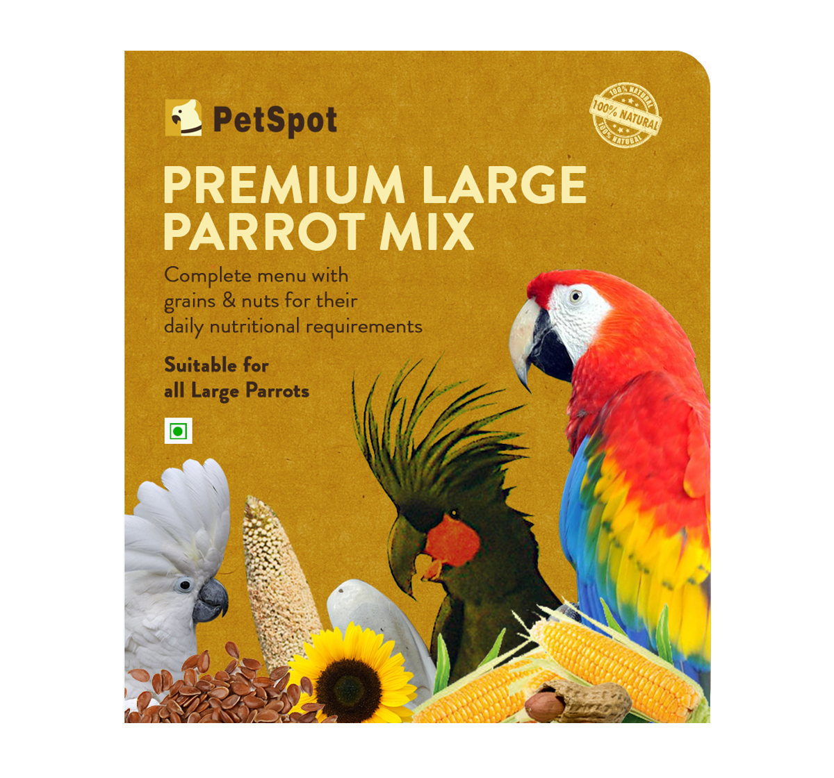 PetSpot Premium Large Parrot Mix - 800 gm