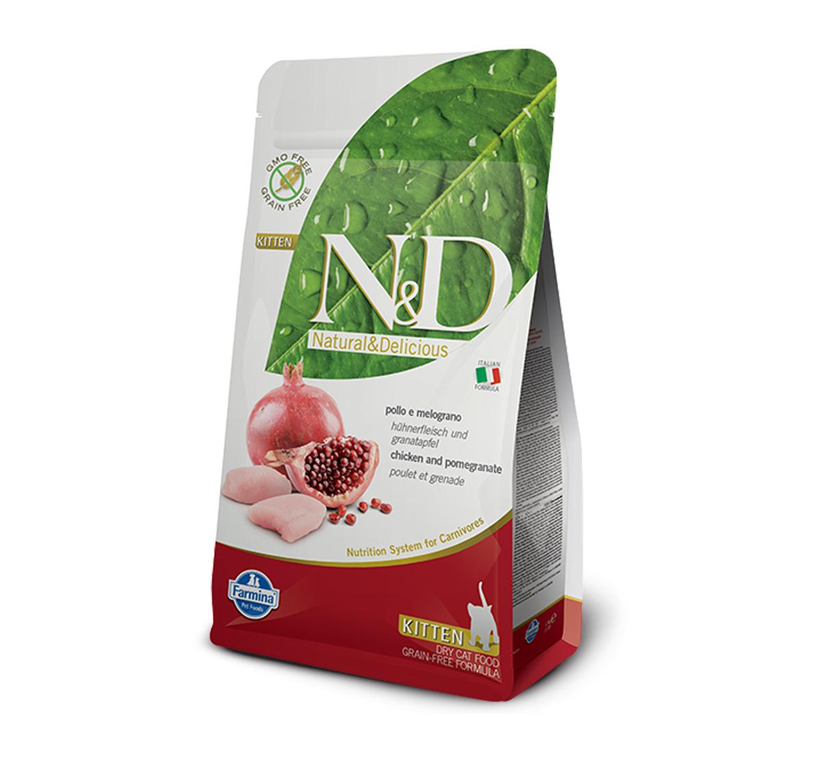 Farmina N&D Dry Cat Food Grain Free Chicken & Pomegranate Kitten - 1.5 Kg (Pack Of 8)