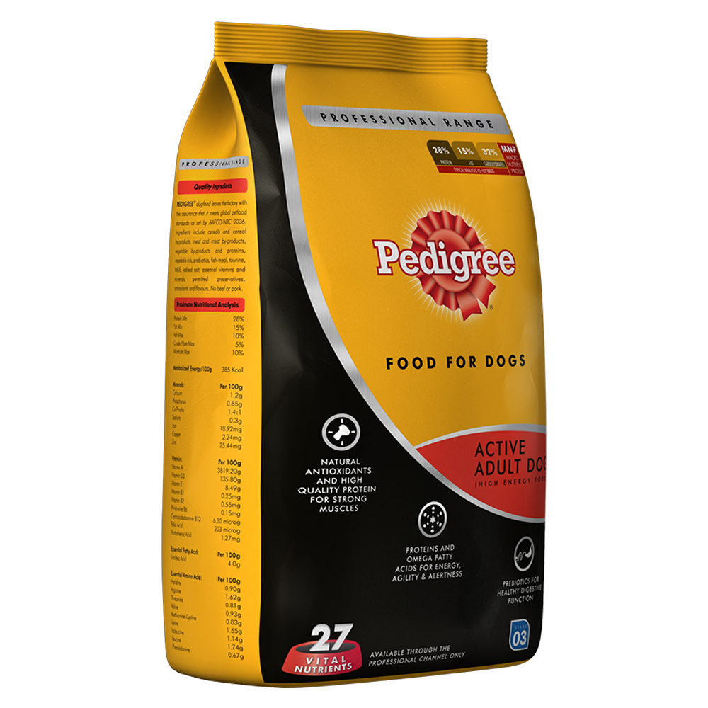 Pedigree Dog Food Active Adult Professional - 3 Kg