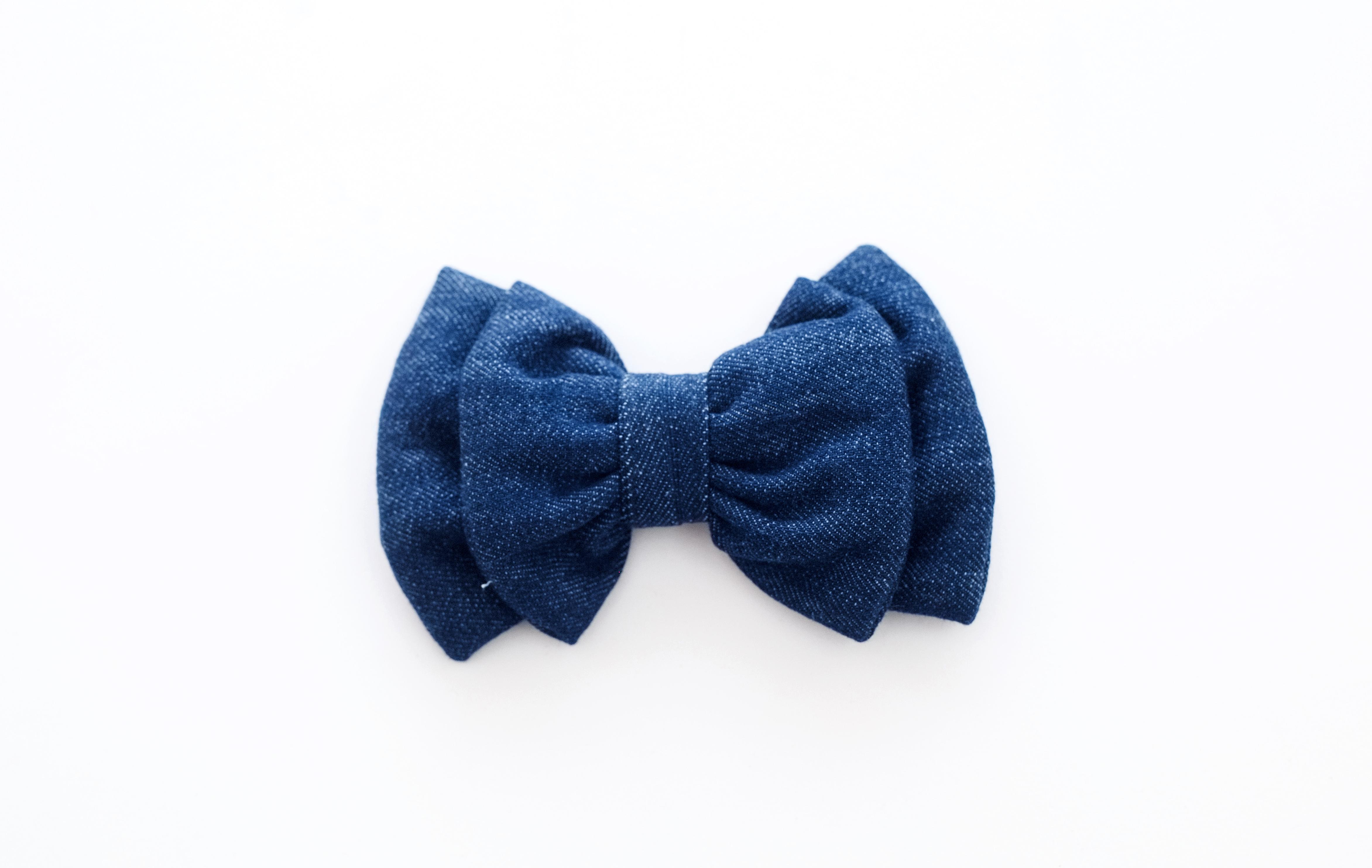 Mutt of Course Dark Denim Bow Tie- Large