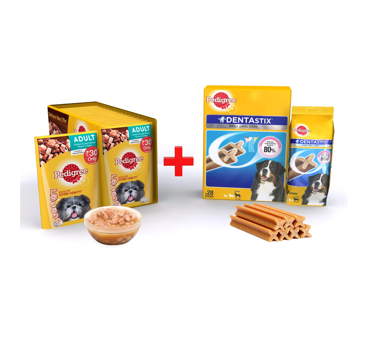 Pedigree Adult Gravy Chicken & Liver 80gm ( 15 Pouch) + Dentastix Large Breed 1.08Kg ( 28 Stick)