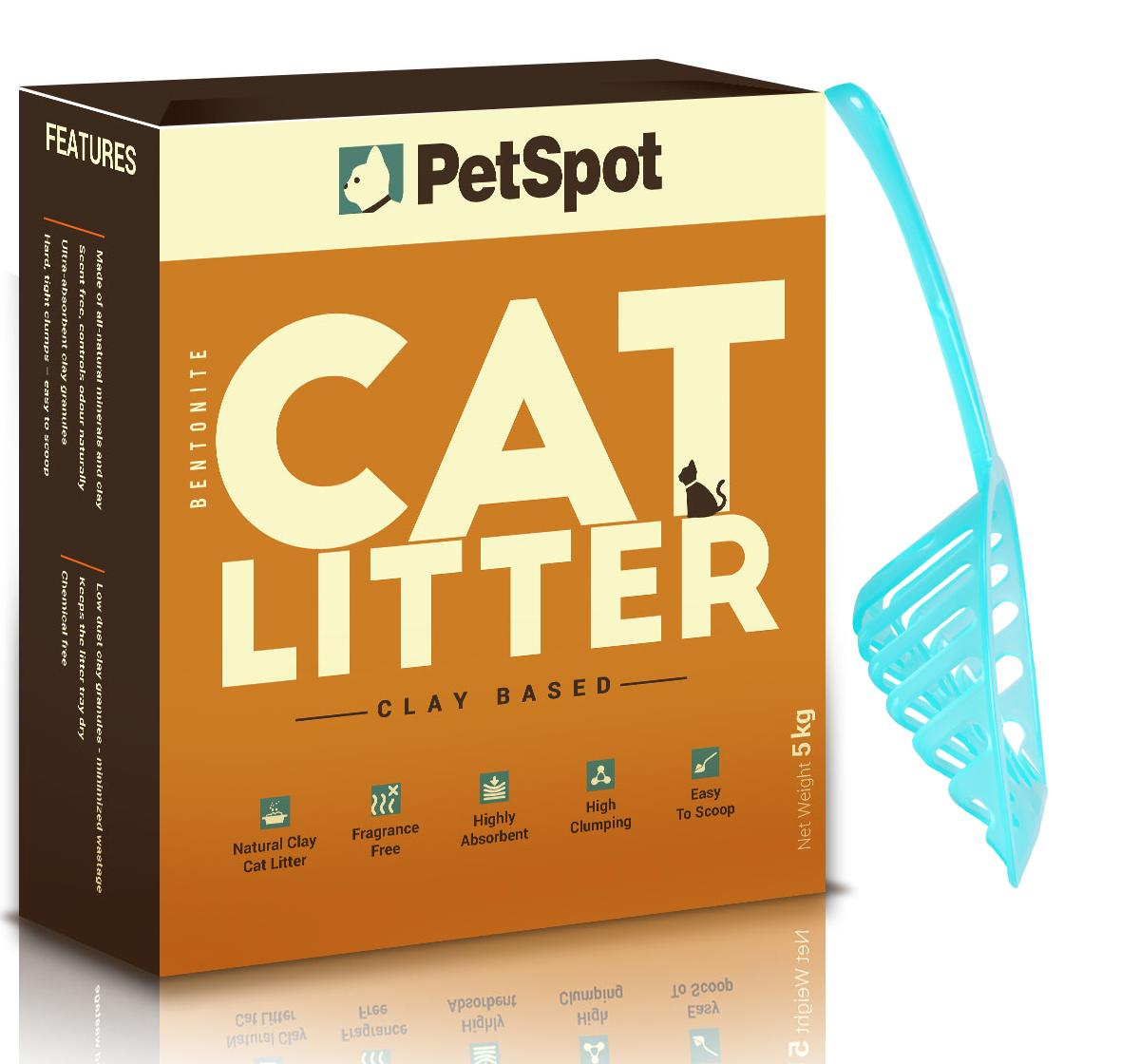 PetSpot Cat Litter - 5 kg with fresh kitty litter scoop