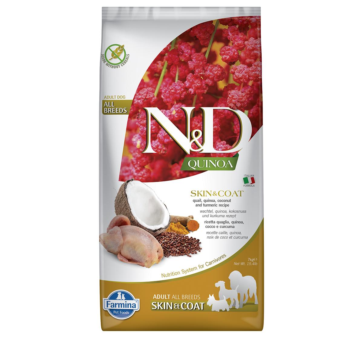 Farmina N&D Dry Dog Food Grain Free Quinoa Skin & Coat Quail Adult - 7 Kg