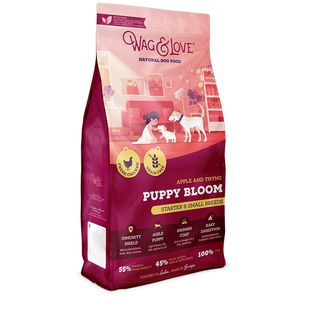 Wag & Love Grain Free Puppy Bloom Starter Small & Medium Breed Chicken, Apple & Thyme - 7 Kg