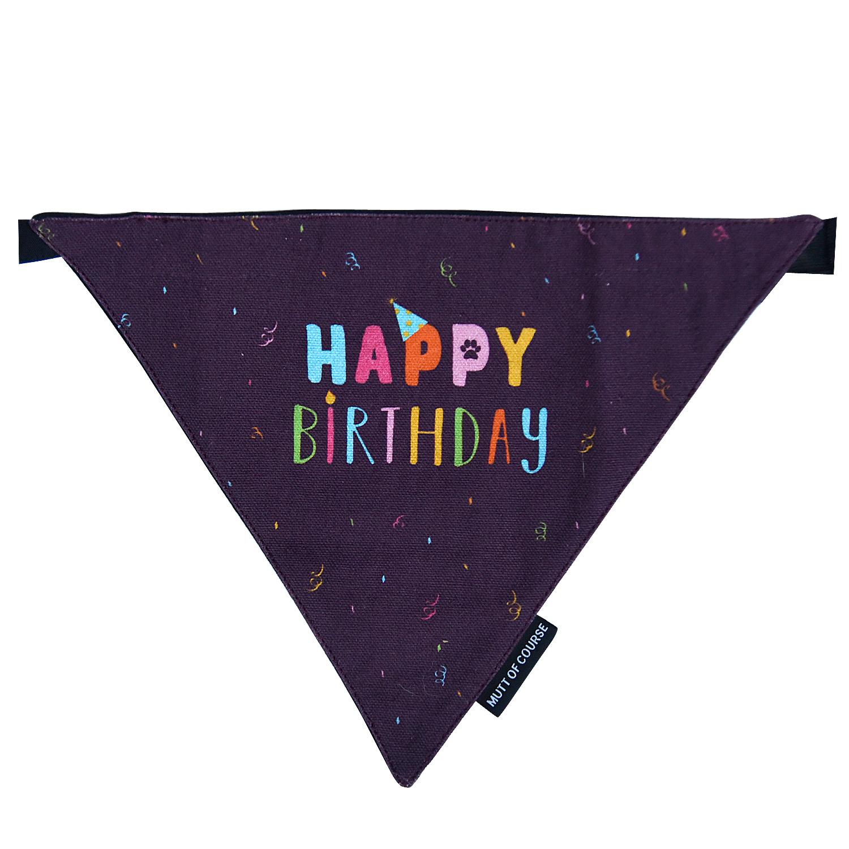 Mutt Of Course Happy Birthday Bandana - Medium