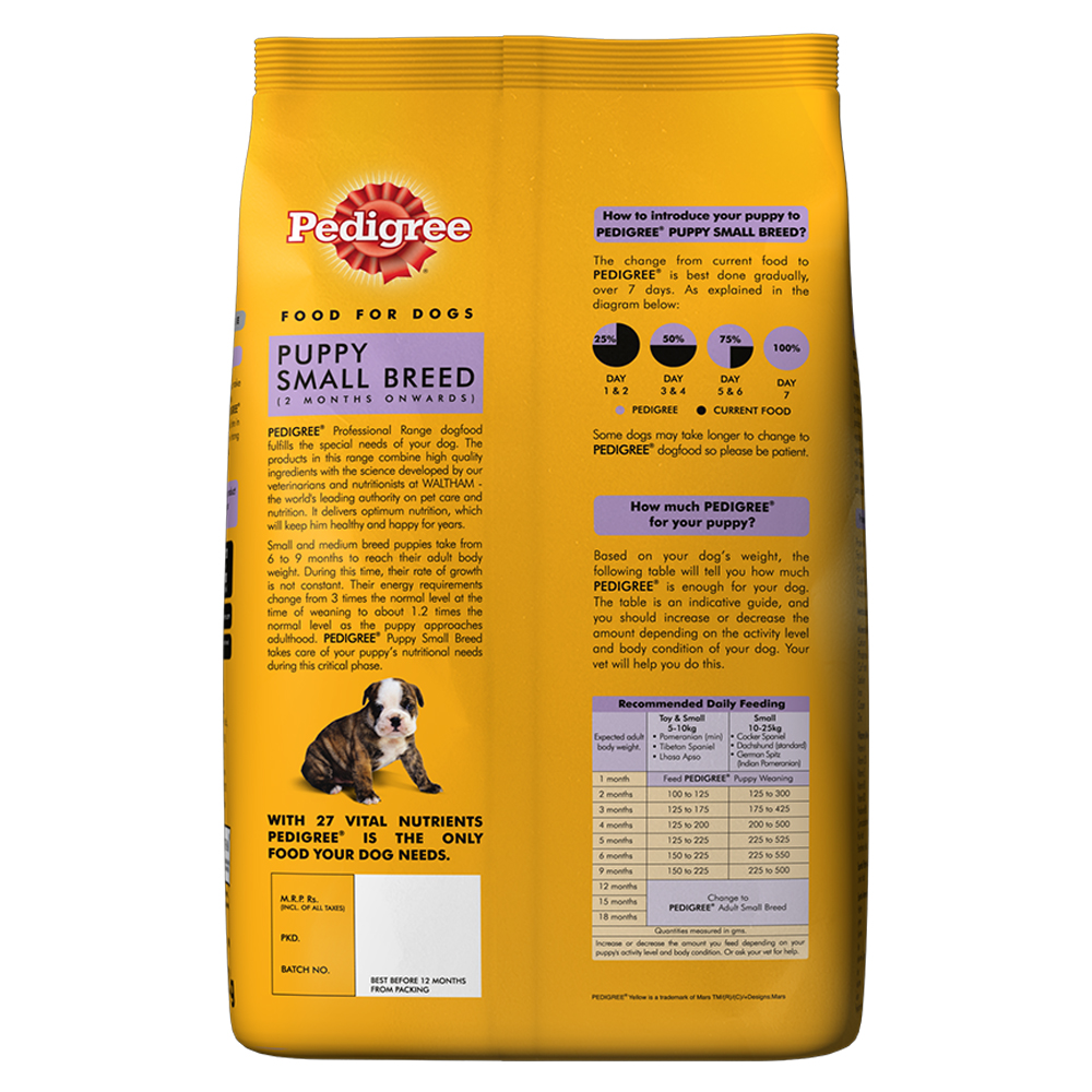 Pedigree dog food puppy small breed professional 12 kg for Akc dog food
