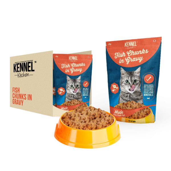 Kennel Kitchen Fish Chunks In Gravy - 100 gm (Pack of 15)