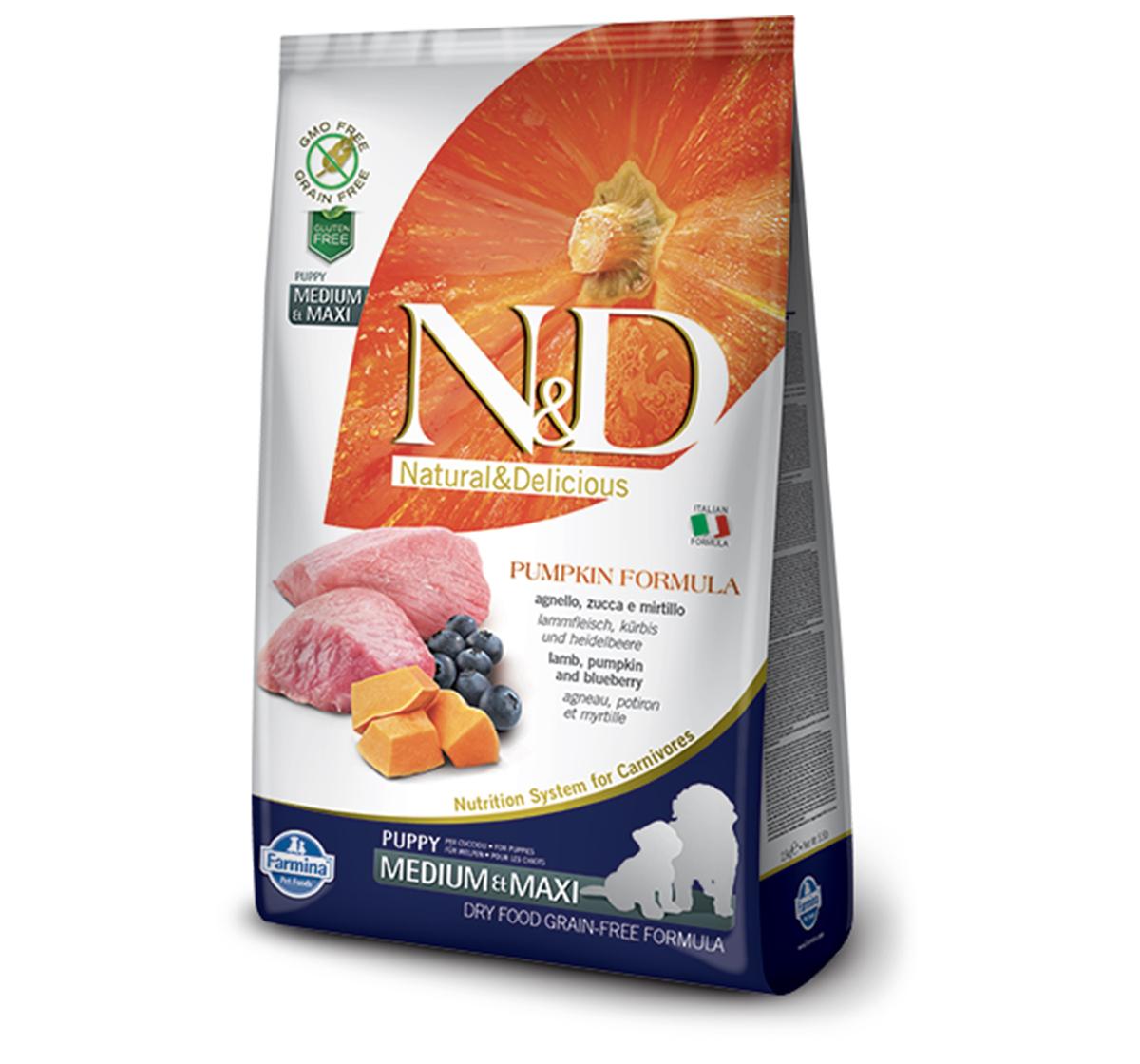Farmina N&D Dry Dog Food Grain Free Pumpkin Lamb & Blueberry Puppy Medium & Maxi Breed- 12 Kg
