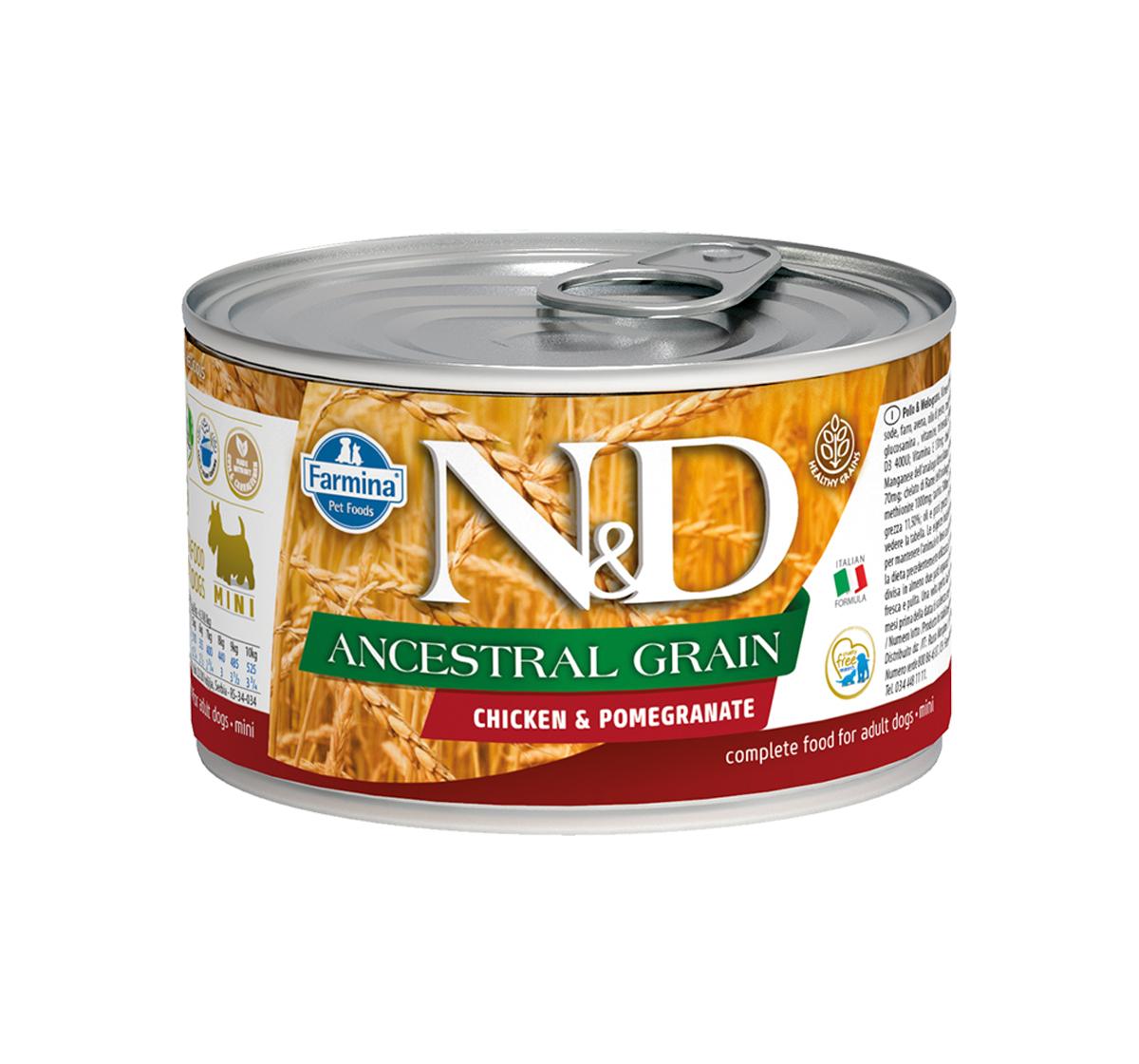 Farmina N&D Wet Dog Food Ancestral Grain Chicken & Pomegranate Mini Adult - 140 gm (6 Cans)