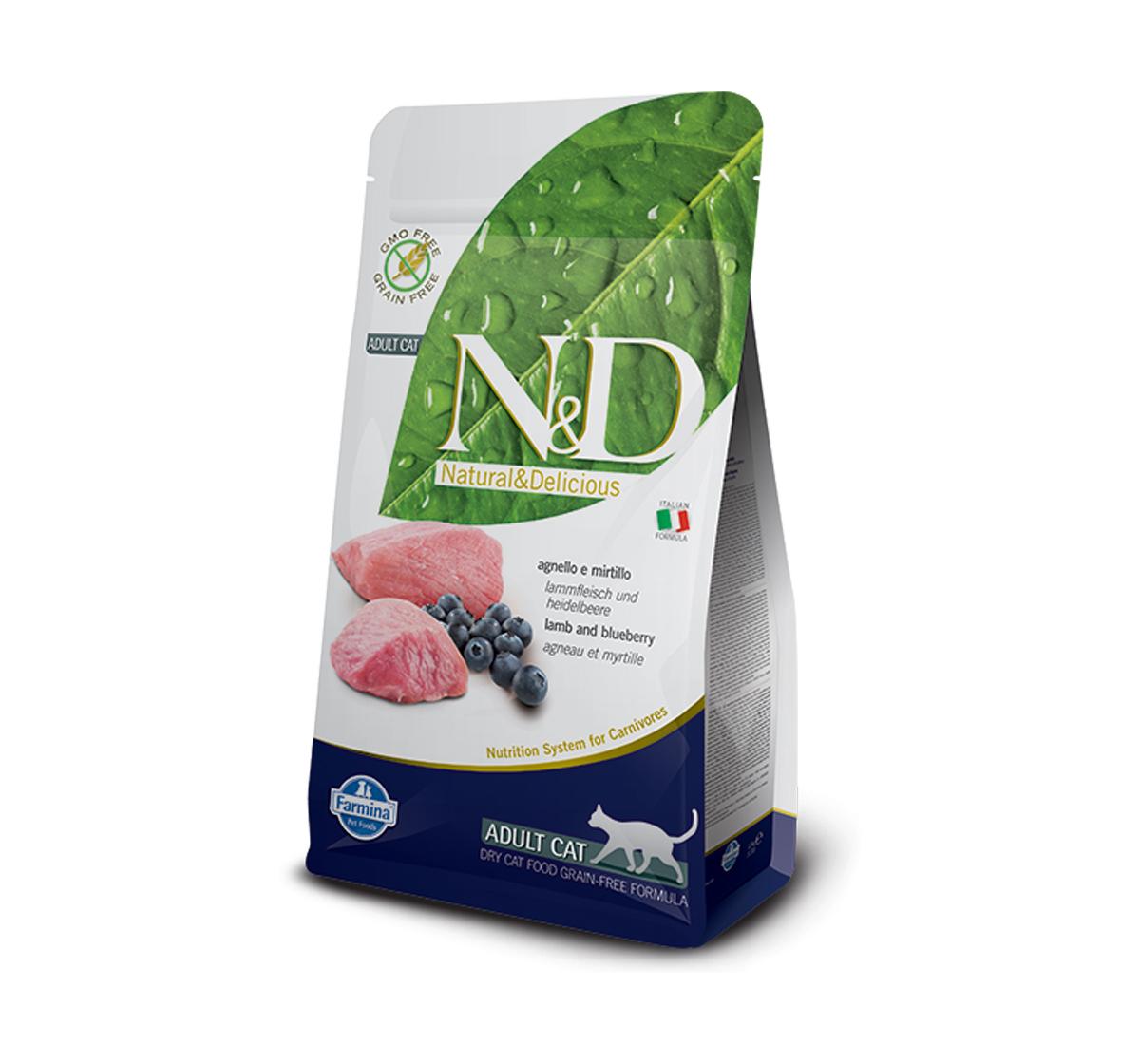 Farmina N&D Dry Cat Food Grain Free Lamb & Blueberry Adult Cat - 1.5 Kg (Pack Of 8)