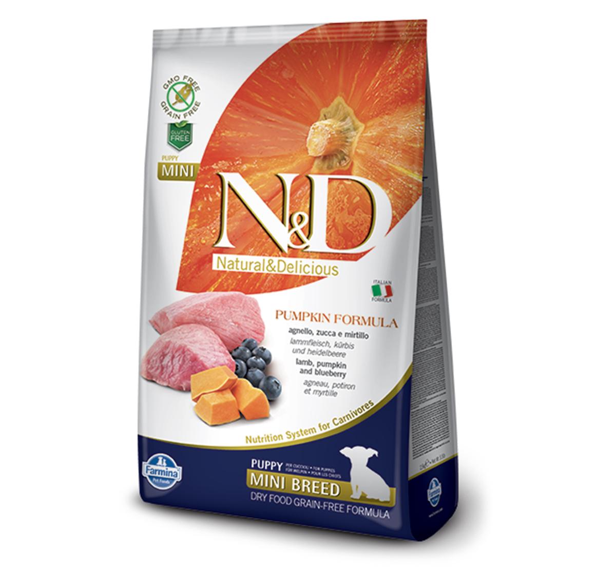 Farmina N&D Dry Dog Food Grain Free Pumpkin Lamb & Blueberry Puppy Mini Breed- 2.5 Kg (Pack Of 4)