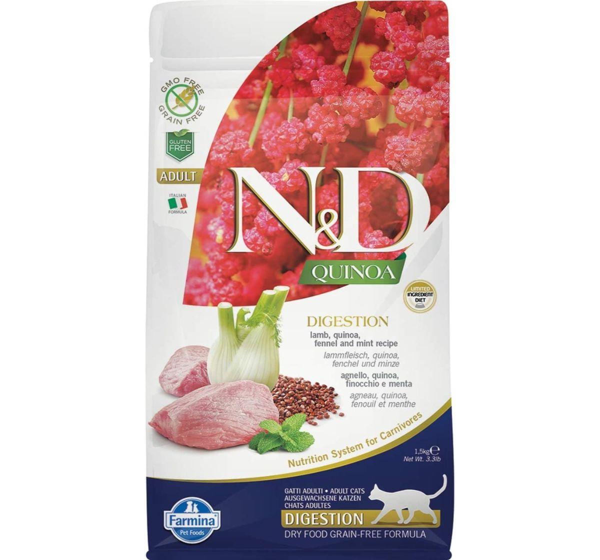 Farmina N&D Dry Cat Food Grain Free Quinoa Digestion Lamb Adult - 5 Kg (Pack Of 2)