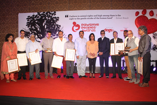 Awardees at Pawsitive people award with Mr. Bachan