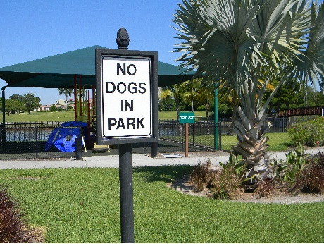 no dogs in the park