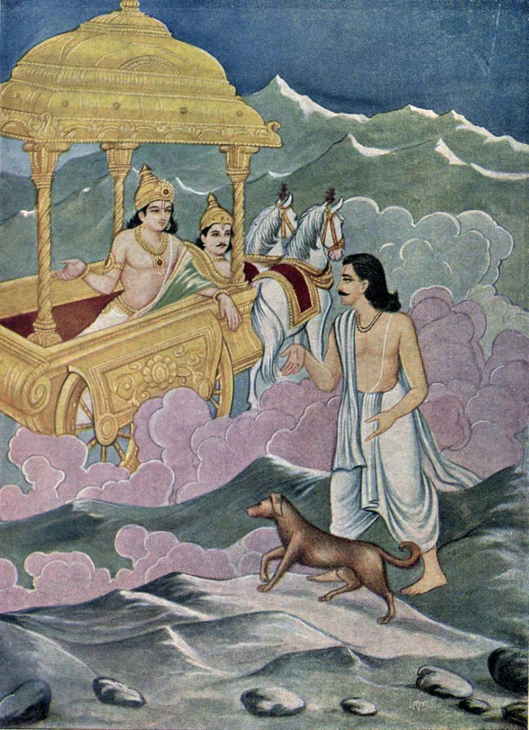 Yudhisthira_with_a_dog_as_a_chariot_from_heaven_arrive