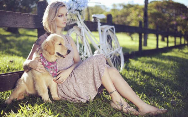 beautiful-blonde-girl-dress-dog-nature-hd-wallpaper